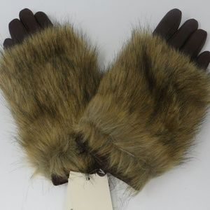 Women's Leather Tech Touch Gloves with Faux Fur